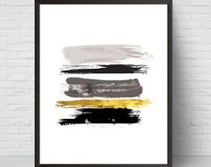 Abstract Painting Wall Art Print Black and Gold Modern
