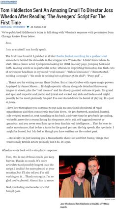 Tom Hiddleston 's amazingly eloquent email to Joss about The Avengers script!