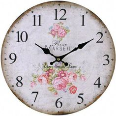 Large Vintage Rustic Wall Clocks Shabby Chic Kitchen Home French Farmhouse Clock in Home, Furniture & DIY, Clocks, Wall Clocks Shabby Chic Shops, Shabby Chic Wall Clock, Rustic Wall Clocks, Kitchen Wall Clocks, Shabby Chic Pink, Shabby Chic Kitchen, Rustic Walls, Kitchen Decor, Rose Clock