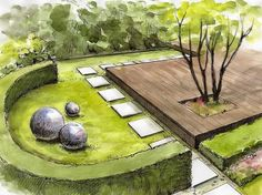 Visualization of gardens * automatic irrigation * ogrodomani Landscape Architecture Drawing, Landscape Sketch, Landscape Design Plans, Garden Design Plans, Landscape Drawings, Planting Plan, Garden Drawing, Front Yard Landscaping, Front Walkway