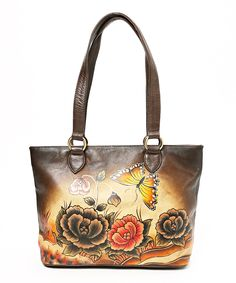 Brown & Yellow Hand-Painted Flower Leather Tote by Biacci #zulily #zulilyfinds