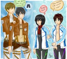 Crossover : Attack on Titan and Free! by frenzy-dragon.deviantart.com on @deviantART
