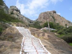 Stone steps which lead to the top of Marunthuvazh Malai hill Tourist Places TOURIST PLACES : PHOTO / CONTENTS  FROM  IN.PINTEREST.COM #TRAVEL #EDUCRATSWEB