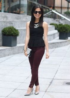 Black Lace Peplum & Oxblood Pants