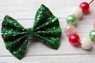 Christmas Tree Green Chunky Glitter Bow