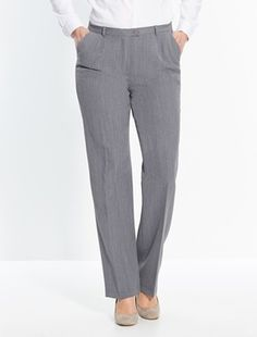 ESSENTIAL Tailoring Straight Trousers black Back-elasticated waistband with front button and zip, belt loops. 2 slant pockets. Front and back darts and permanent creases. Inside leg 291/2in. approx. (75cm). Hem width 161/2in. approx. (42cm). Ma http://www.MightGet.com/january-2017-11/essential-tailoring-straight-trousers-black.asp