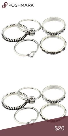 Set of 5 basic rings/midi rings (silver) Brand new, never used! ♡ they are all about the same size. Jewelry Rings