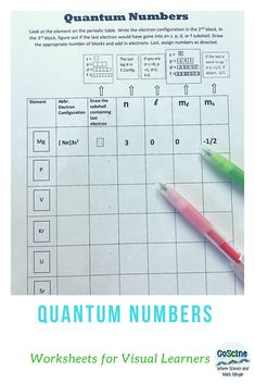Teach students how to find quantum numbers with this worksheet printable. It simplifies the process Chemistry Worksheets, High School Chemistry, Chemistry Lessons, Chemistry Notes, High School Science, Writing Worksheets, Chemistry Classroom, Teaching Chemistry, Science Chemistry