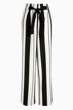 Cream/Black Bold Stripe Belted Linen Trousers