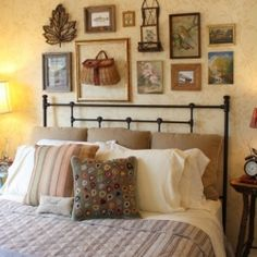 A guest bedroom filled with vintage treasures and sentimental items all tied around an outdoor and Adirondack theme.