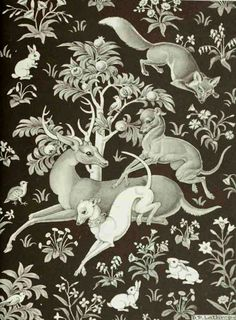 Greyhound Plays w/ White Dog Rabbits Fox Deer in Celtic Tapestry Setting Book Plate Illustration by Dorothy P. Lathrop Animals at Play - Hunde Illustrations, Illustration Art, Greyhound Art, Italian Greyhound, White Dogs, Dog Art, Oeuvre D'art, Dachshund, Celtic