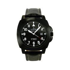 SkyTimer 507545434Planeador-Reloj automático Miyota 8215, carcasa de acero inoxidable 43x 43mm Negro, base de vidrio, 5ATM Impermeable, correa de piel