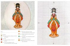 0 point de croix miniature femme asiatique - cross stitch asian lady