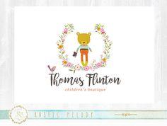 Kids Logo Design, Bear Logo, Boutique Logo, Watercolor Logo, Artisan Logo, Decor Logo, Floral Logo, Photography Logo, Watermark,