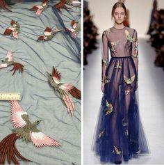 2016 Высокого класса Европейских Тяжелых кружевной ткани платье сетка марлевые птицы вышитые ткани одежды аксессуары синий Оптовая A-108