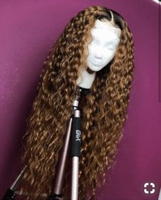 Ombre Colored Deep Part 2 Tone Dark Roots Remy Wig Full Brazilian Water Wave Lace Front Human Hair Wigs For Black Women Wig Styles, Curly Hair Styles, Natural Hair Styles, Haircut Styles, Short Styles, My Hairstyle, Wig Hairstyles, Colored Weave Hairstyles, Ladies Hairstyles