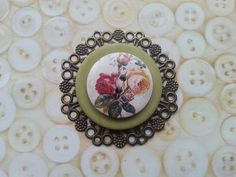 Vintage olive green rose inspired layered button by maxollieandme