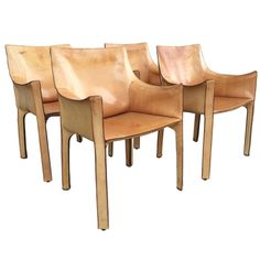 """Set of Four """"CAB"""" Leather Chairs by Antonio Bellini for Cassina 