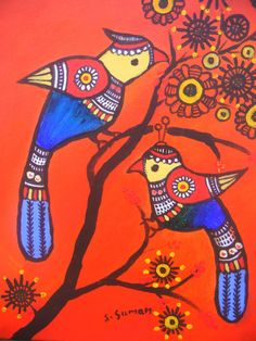 pair of birds acrylic painting printIndian folk by MadhubaniMotifs, $22.00
