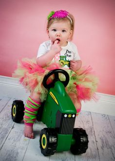 First Birthday Girl Green Tractor John Deere Pink by Whimsy Tots Boutique, $34.50, Kids, Photos by Magic Moments Photography