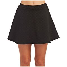 Quilted Skater Skirt ❤ liked on Polyvore featuring skirts, elastic waist circle skirt, checkered skirt, skater skirt, pull on skirts and flared skirt