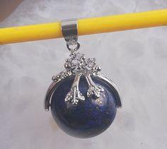 Lapis Lazuli & Silver Tone Bead