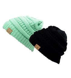 b51fc30191c Unisex Trendy Warm Chunky Soft Stretch Cable Knit Slouchy Beanie Skully  Gift Set- Black   Sage CW11QN0GIQX