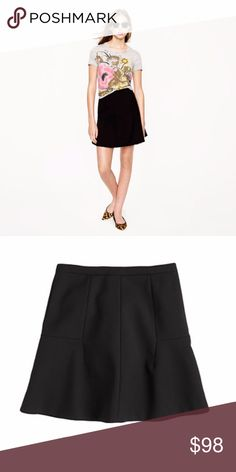 J. Crew Fluted Skirt in Double Crepe Black In a flattering fluted shape, this structured but swingy skirt is finished with a subtle lustre that gives it endless wear possibilities (work, parties, brunch, you name it). Sits above waist. Falls above knee. Back zip. Lined.   Size 10.   75% polyester, 20% viscose, 5% spandex.   Excellent condition! J. Crew Skirts