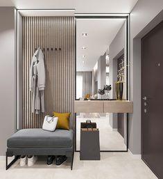 corridor on Behance Home Hall Design, House Design, Apartment Interior, Apartment Design, Flur Design, Home Entrance Decor, Dressing Room Design, Hallway Furniture, Bathroom Interior Design