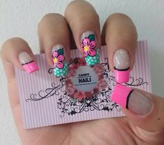 Flowers #PerfectNails Fabulous Nails, Perfect Nails, Spring Nails, Summer Nails, Nail Picking, Wow Nails, Flower Nail Designs, Nail Candy, Feet Nails