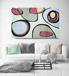 """Vibrant Colorful Abstract-0-39. Mid-Century #Modern Green Pink #Canvas #Art Print, Mid Century Modern Canvas Art Print up to 72"""" by Irena Orlov  Wall Art Decor for Home, Offic... #midcentury #paintings #print #orlov #giclee"""