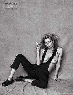 Kate Moss por Peter Lindbergh para Vogue Itália Janeiro 2015 [Editorial]