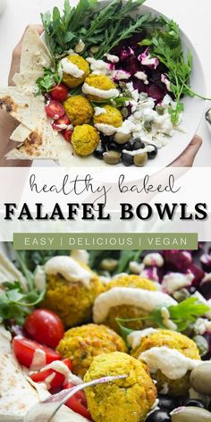 These healthy baked vegan falafel bowls are the best lunch idea that's delicious and easy to make. This salad bowl recipe is plant based, using only the freshest vegan, vegetarian, and dairy free ingredients. It's a quick and perfect option for weekly meal preps. These falafel salads use homemade hummus, tzatziki, and tahini dressings. Eat this Mediterranean salad as a meal on its own or as an appetizer before your dinner or main meals. This nutritious bowl is sure to be a new family favorite! Vegetarian Lunch, Vegetarian Recipes Easy, Lunch Recipes, Healthy Dinner Recipes, Vegetarian Entrees, Vegan Side Dishes, Main Dishes, Healthy Slow Cooker, Mediterranean Recipes