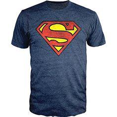 31c9cc52ce Amazon.com  Superman Logo Shield Heathered Navy Slim-Fit T-Shirt  Clothing