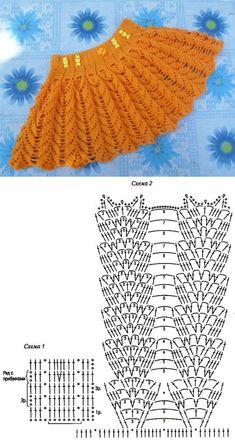 Crochet Skirt Pattern, Crochet Skirts, Crochet Stitches Patterns, Crochet Blouse, Crochet Chart, Baby Knitting Patterns, Crochet Designs, Crochet Dolls, Crochet Baby Pants