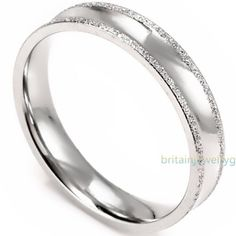 4MM-Shining-Sand-Stainless-Steel-Womens-Band-Ring-for-Engagement-Wedding-Silver