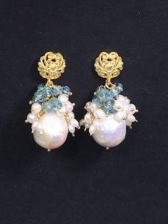 Blue Zircon Pearl Cluster Earrings Gold Post - doolittlejewelry