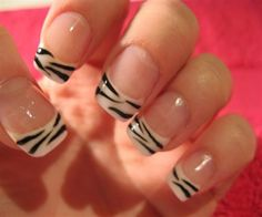 Zebra-tipped french manicure