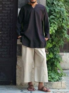 Linen V-Neck Tunic - Tops and Kurtas - Men Maternity Pants, Pregnancy Pants, Thai Fisherman Pants, Wrap Pants, Stitch Shirt, Thai Style, Cotton Pants, Trousers Women, Long Sleeve Shirts