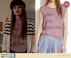 """Emma's """"aller a la piscine!"""" tee on Red Band Society. Outfit Details: http://wornontv.net/37150/ #RedBandSociety"""