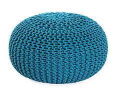 Pouf tricoté coton, turquoise foncé - Ø55