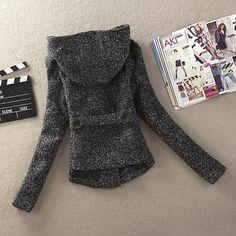 Envío Gratis 2014 nuevas mujeres del resorte caen chaquetas de lana Tweed  Slim Fit doble botonadura 77ccf07349aa