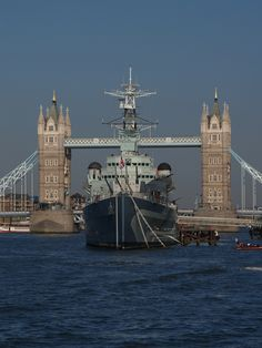 I managed to get a picture of HMS Belfast situated in front of Tower Bridge - London