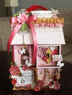 Miniature house created by Petaloo DT Member Alice Carman using Authentique's Lovely and Petaloo's Valentine's Day flowers.