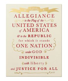 Another great find on #zulily! Pledge Allegiance Sign by Collins #zulilyfinds