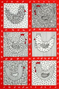 Benodigdheden: white drawing sheet piece of cardboard black fine marker red marker scissors and glue Cut a piece of cardboard from 7 by 7 . Spring Art, Spring Crafts, Easter Art, Easter Crafts, Artists For Kids, Art For Kids, Drawing Sheet, Student Drawing, Chicken Art