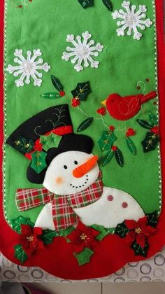 Best 12 Sweet table runner with appliqued snowman and cardinal Christmas 2014, Felt Christmas, Christmas Pictures, Christmas Stockings, Christmas Crafts, Xmas, Felt Decorations, Christmas Decorations, Holiday Decor