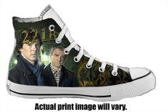 Sherlock Custom Converse All Stars from ArkhamKicks on Etsy $85