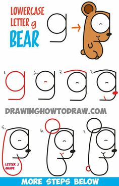 How to Draw Cartoon Bear Cub from Lowercase Letter g - Easy Step by Step Drawing Tutorial for Kids - How to Draw Step by Step Drawing Tutorials Word Drawings, Art Drawings For Kids, Doodle Drawings, Drawing For Kids, Easy Drawings, Drawing Drawing, Drawing Cartoon Characters, Character Drawing, Cartoon Drawings
