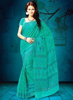 #Pretty #Printed Cotton #Saree